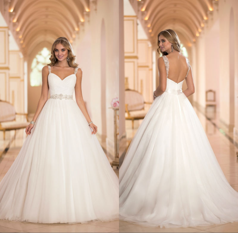 2014 ball gown sweetheart neckline spaghetti strap zipper for Sweetheart wedding dress with straps