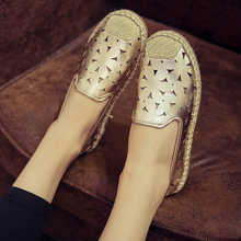 New 2015 Autumn Women Flats Round Head Casual Loafers Cow Muscle Bottom Hollow Out Lazy Fisherman  Shoes Woman Ballet Flats