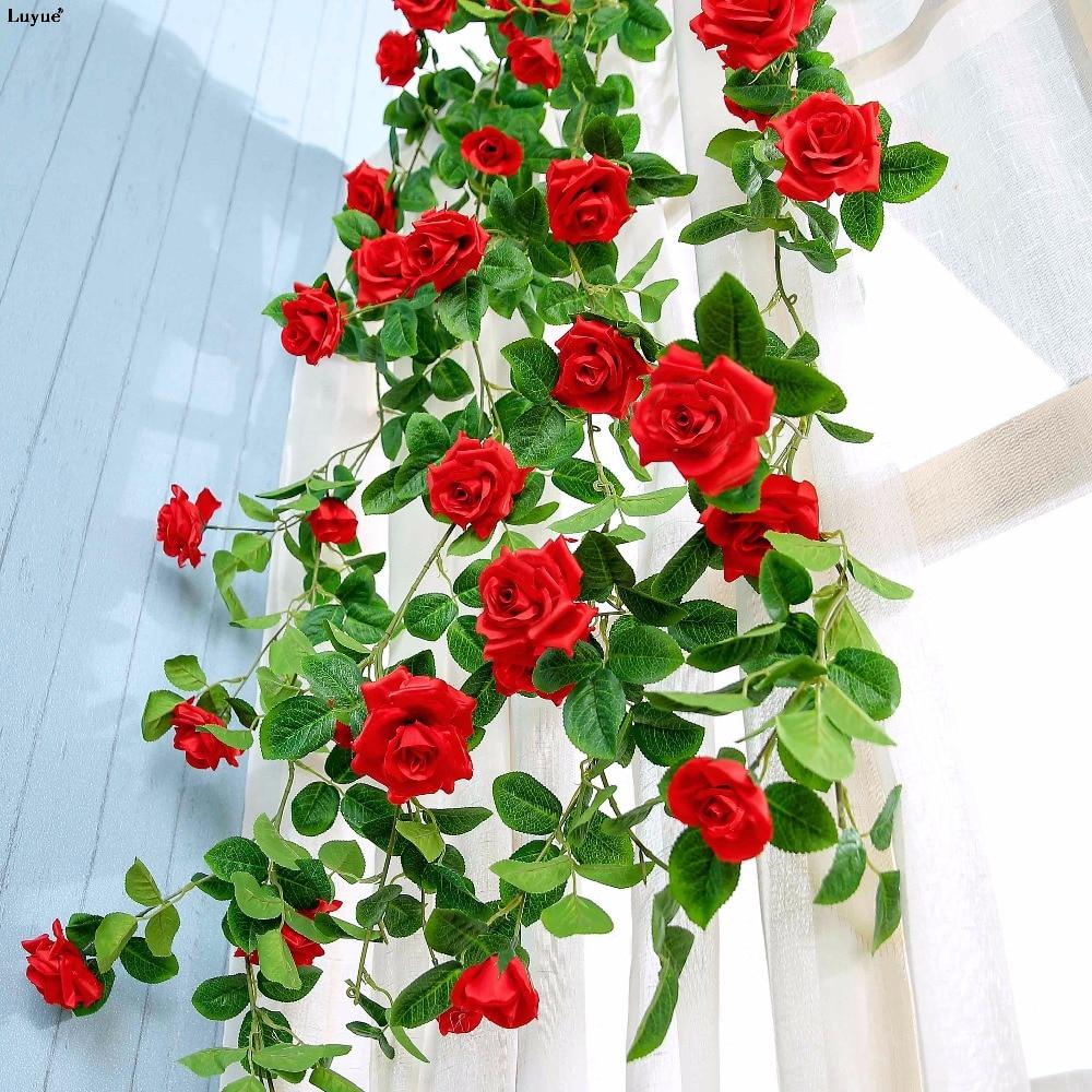 luyue 175cm silk artificial rose flower vines wedding party