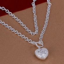 Silver plated exquisite luxury gorgeous charm fashion heart cute women stone heart spoons Necklace Silver jewelry N022