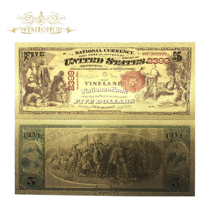 1875 Year's America Banknotes US <font><b>5</b></font> <font><b>Dollar</b></font> <font><b>Bill</b></font> World Fake Money Collections Souvenir Currency Gold Plated Banknote Drop Ship image