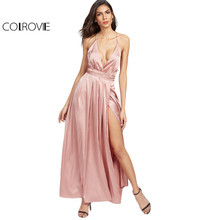 COLROVIE Maxi Party Summer Dress Women 2017 Pink Elegant Surplice Front High Slit Sexy Dresses New Cross Back V Neck Cami Dress