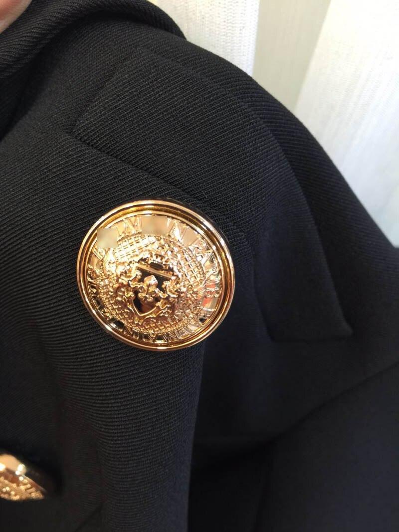 ¡Calidad superior! Blazer clásico de sarga negra de doble botonadura con botón en relieve dorado hasta chaquetas de manga larga para mujer-in chaqueta de deporte from Ropa de mujer    1