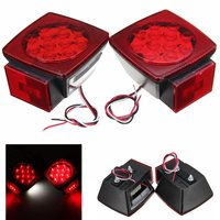 2Pcs 12V Rear Tail Brake Light Red Truck Trailer LED Square Side Marker License Plate Lights