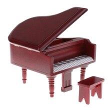 1:12 casa de muñecas Vintage muebles en miniatura madera de palo de rosa Piano de cola + taburete Kit para niños juguete para juego de imitación