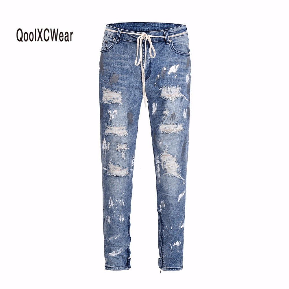 QoolXCWear men Hip hop denim jeans pants rock splash ink stretch distressed ripped skinny jeans damage wash old Hole jeans mens-in Jeans from Men's Clothing    1