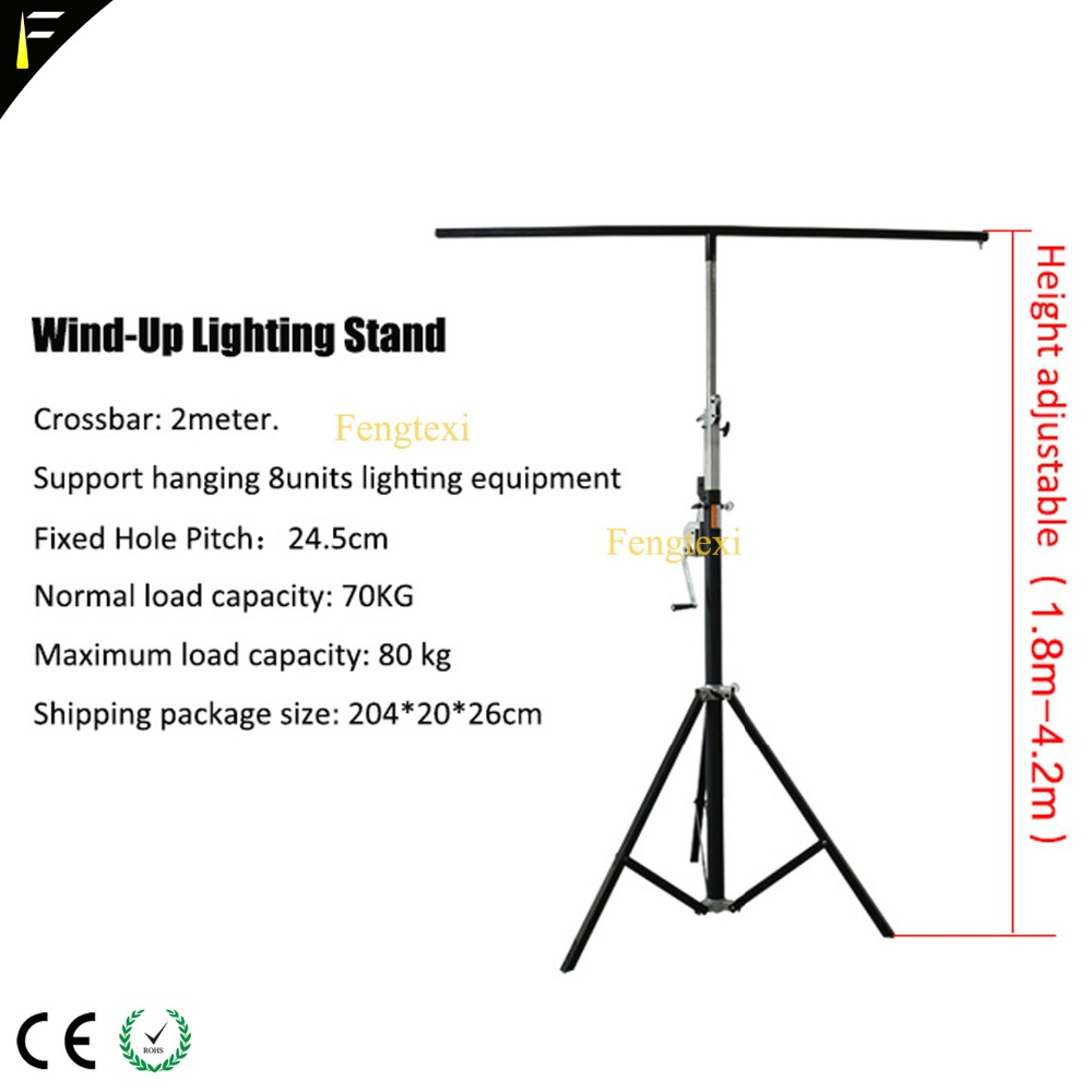 Stage LED Par Can Light Foldable Tripod Wind Up Stand Light Tripod Bracket with Single/Double Crossbar Hanging 8 Lights Holder