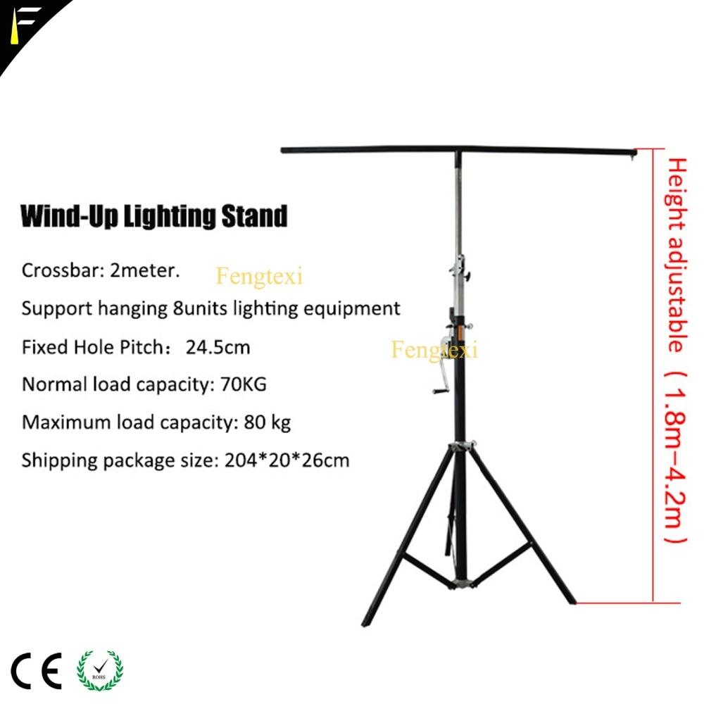 Stage LED Par Can Light Foldable Tripod Wind Up Stand Light Tripod Bracket With Single/Double Crossbar Hanging 8 Lights  Holder