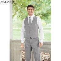 light grey custom vest for men bridegroom vests classic groom waistcoat wool bleed 2019