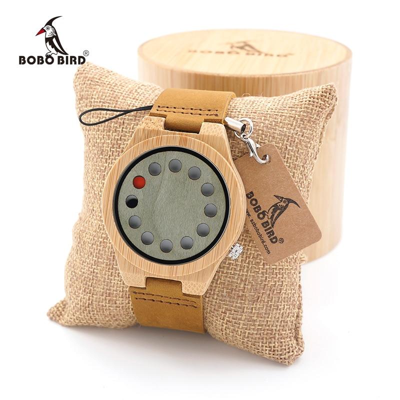 BOBO BIRD Men's Wood Bamboo Wristwatch 12 Holes Design Men Top Brand Wooden Wrist Watches in wood Box men s luxury brand bamboo wooden sunglasses square handmade polarized blue coating mirror eyewear in wood box as picture bs015