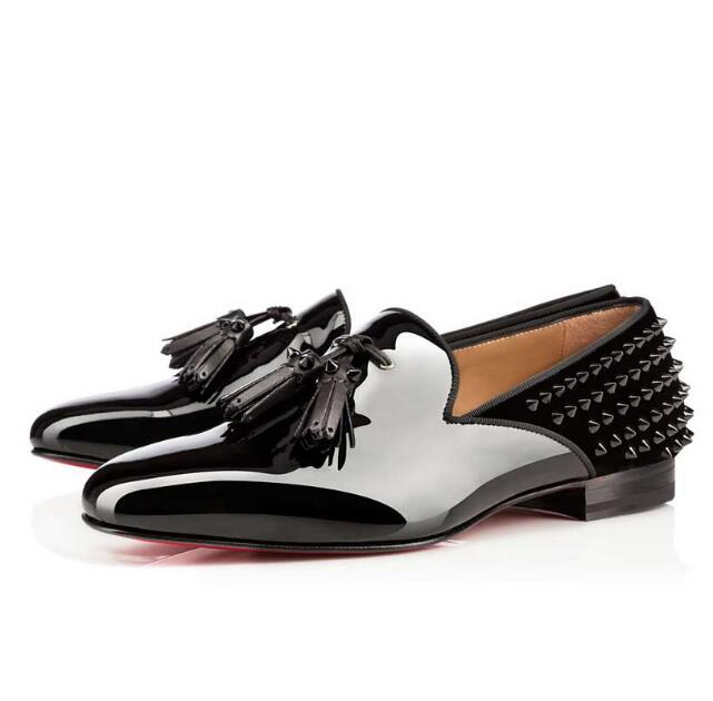 Luxury Brand 2019 Patent Leather Slip On Spikes Rivets Studded Tassel Fringe Men Loafers Flats Sapatos Mujer Party Shoes new fashion tassel fringe dandelion spikes mens loafers high quality slip on flats shoes mens casual shoes size 38 47