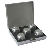 10sets Silver Aluminum Alloy Drinking Game Dice Set Portable Noble Metal Case Gambling Poker Bar Party