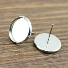 4 Colors Fit 8mm 10mm 12mm 14mm Glass Cabochon High Quality Copper Material Earring Studs Earrings Bezels Setting Base 20pcs/lot(China)