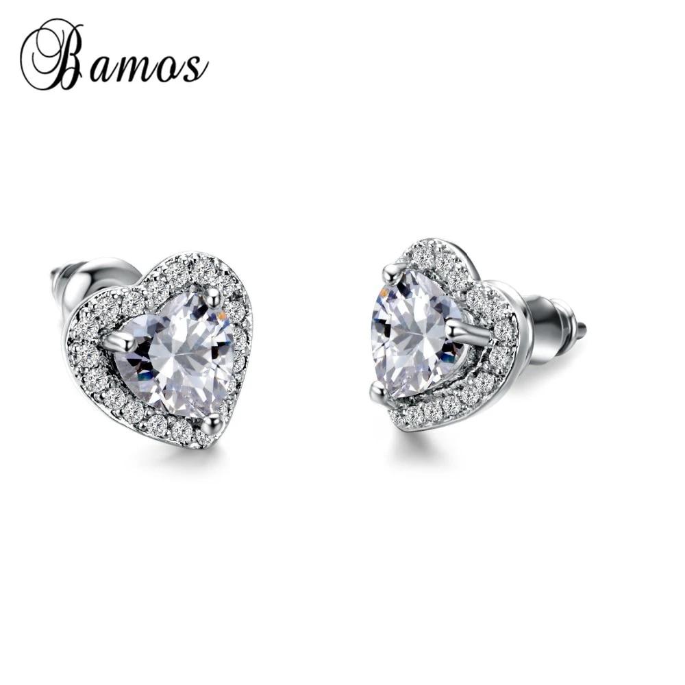 Bamos Fashion White Heart Shape Stud Earring Aaa Zircon Filled Jewelry For Women Christmas Gifts High Quality Double Earrings Stud Earrings Aliexpress