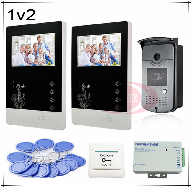 New Wired 4.3 inch Color Video Door Phone Intercom Doorbell System 2 Monitor 1 RFID Access SONY 700TVL, Clearer Video!HD Camera free shipping wired 7 inch color video intercom home door phone system 3 white monitor 1 hd rfid access doorbell camera in stock