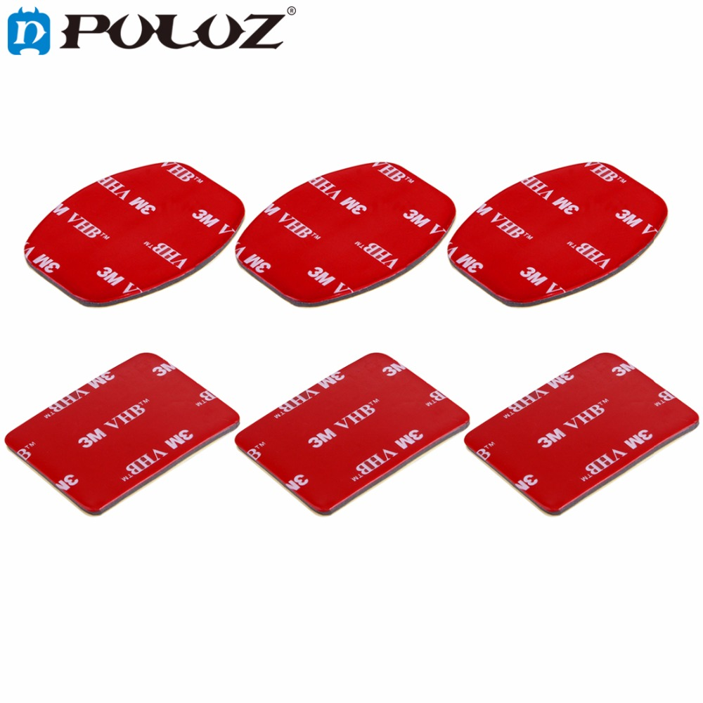 PULUZ for Go Pro Accessories 3 Flat Stickers + 3 Curved 3M VHB Adhesive Pad Stickers for GoPro HERO5 HERO4 Session HERO 5 4 3+