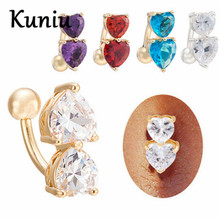 KUNIU Double Love Zircon belly button rings Dangle Navel belly button bar ring gold / silver plated stainless steel body jewelry