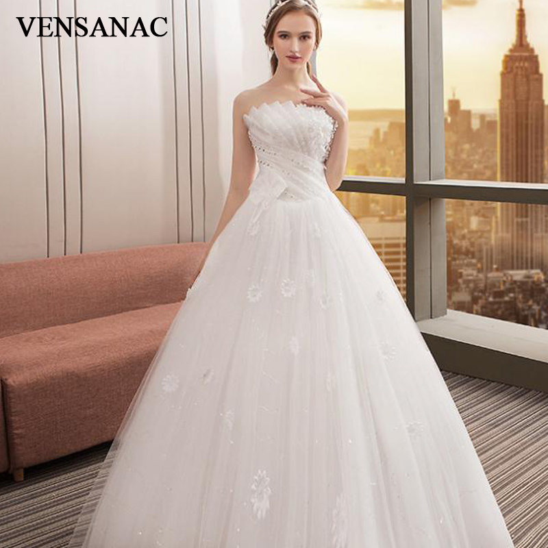 VENSANAC 2018 Lace Flowers Appliques Ball Gown Wedding Dresses Crystal Pleat Strapless Sequined Backless Bridal Gowns