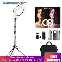 Capahorrador 14 pulgadas LED anillo de luz para vídeo Youtube maquillaje lámpara anular bicolor 3200 K-5500 K luces de anillo de luz de anillo de foto CRI90