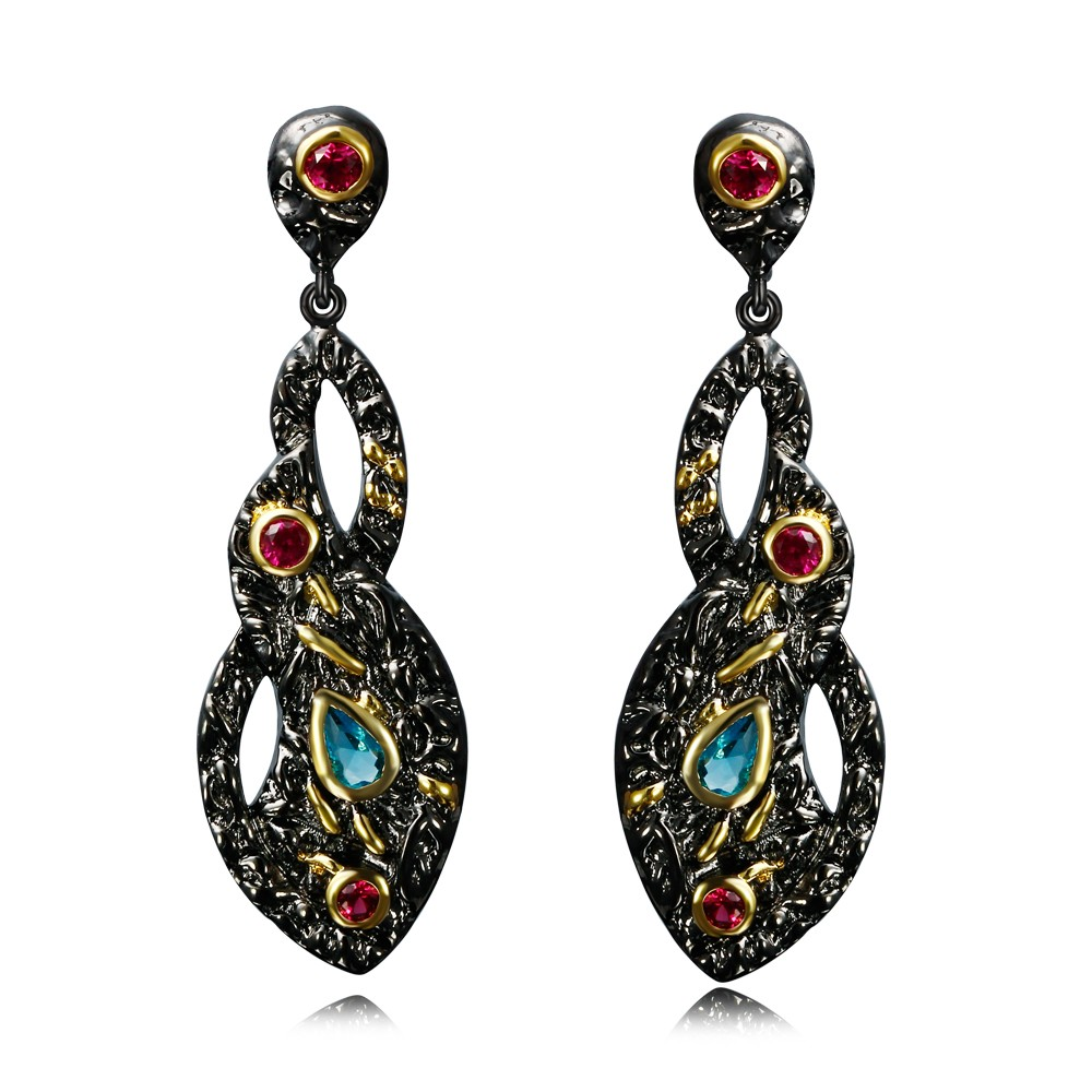 Awesome And Attractive Brincos Black And Gold Contrast Highest Quality  Vintage Evening Bohemian Dangle Earrings