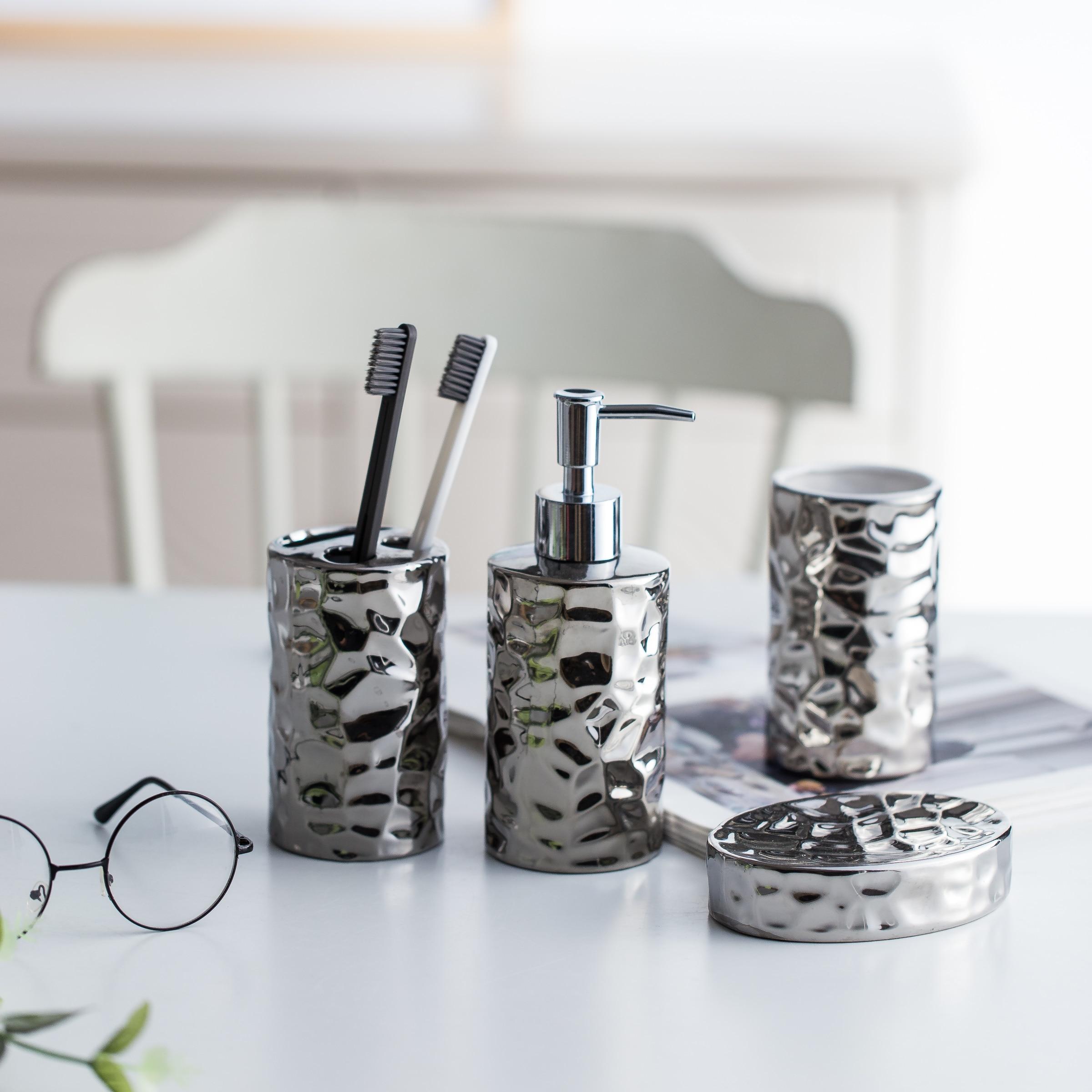 European style ceramic bathroom set silver plated washroom bathroom ...
