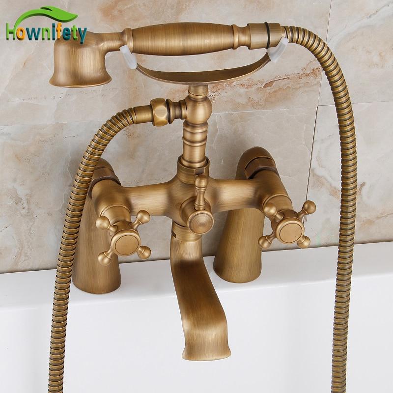 Antique Brass Countertop Bathtub Faucet Double Handles Mixer Tap with Hand Shower