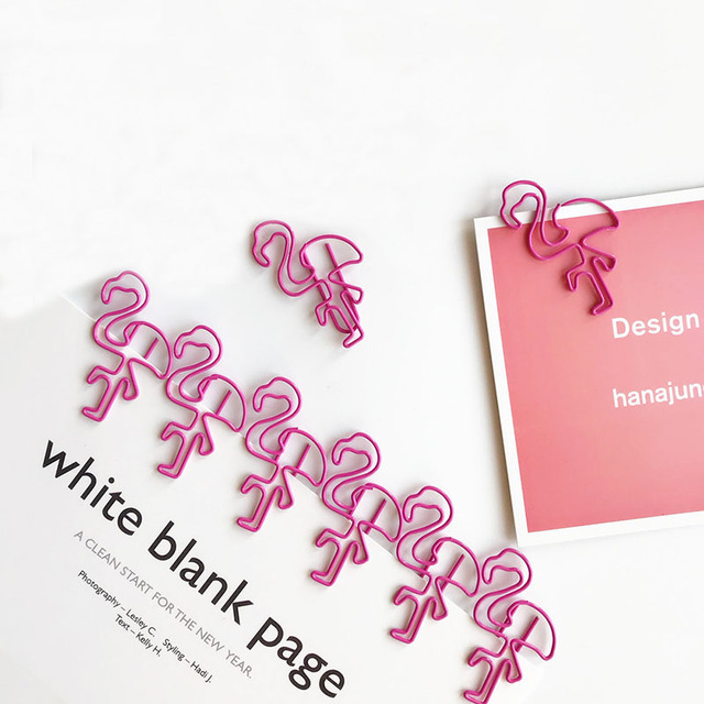 10 Pcs/lot Pink Flamingo Bookmark Planner Paper Clip Material Escolar Memo Clip For Book Stationery School Supplies