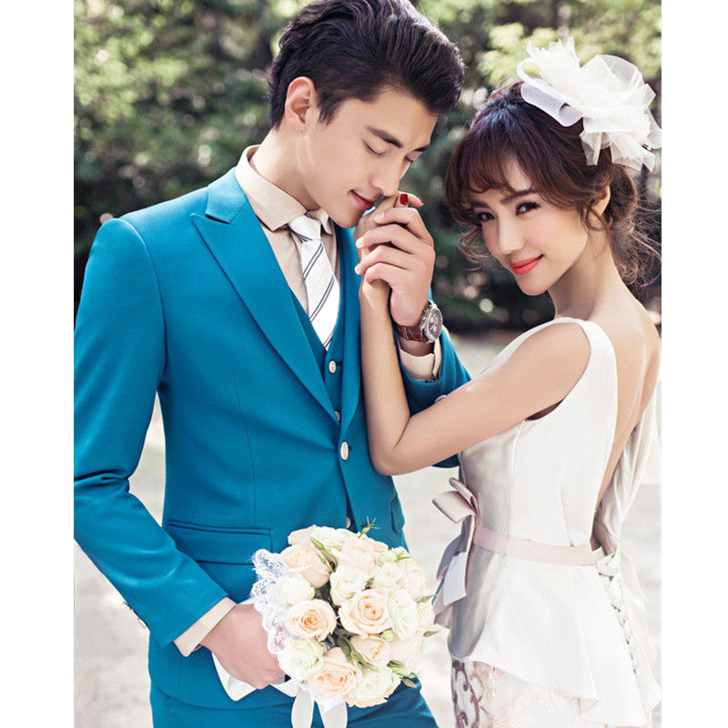 High-quality Men's Suit Yellow Lapel Men's Wedding Dress and Business Office Professional Set (Jacket + Pants + Vest) Custom
