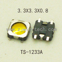 20pcs/lot Super Tiny Tactile Push Button Switch Momentary Switch 3.3X3.3X0.8mm SMD mounting