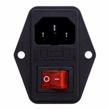 1PCS Black Red AC 250V 10A 3 Terminal Power Socket with Fuse Holder