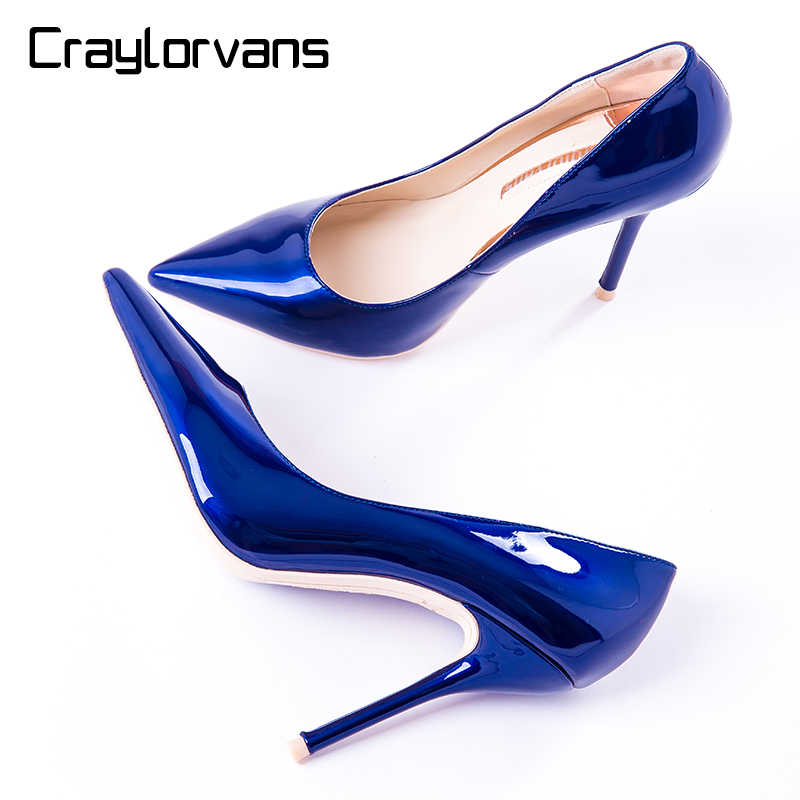 Craylorvans Blue Patent Leather Women Pumps NEW Fashion Pointed Toe Autumn Spring Elegant Wedding Super High Thin Heels Shoes 2017 spring fashion 9 cm pointed toe high heeled shoes metal pearl decoration thin heels patent leather wedding party shoes