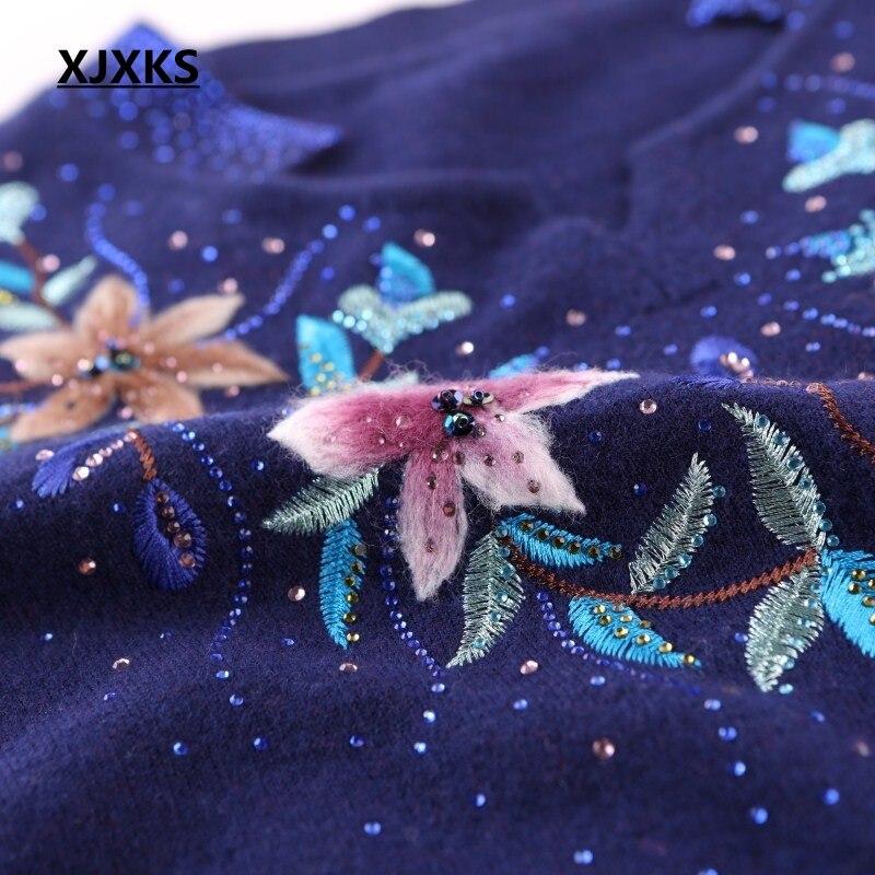 Conception Haute De Manches Xjxks Les Pulls Pour rouge Cavaliers À Chandail Bleu Chaud Fleurs marine Longues Qualité bourgogne Automne Chandails Femmes Marque Tricoter Rose YwwXfqz