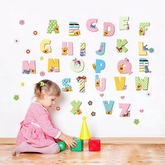 a z alphabet letters mural wall sticker for kids room decals nursery bedroom decor school classroom background