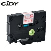 Cidy tze 232 tz232 화이트 레드 라미네이트 호환 p 터치 12mm tze 232 tz 232 tze232 라벨 테이프 카세트 카트리지|프린터 리본|컴퓨터 및 사무용품 -