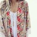 Женщины Блузка Цветочный Печати Шифон Кимоно Женщины Кардиган Элегантный Сексуальные Кружева Блузка Повседневная Пляж Boho Прикрыть Длинные Blusas Топы