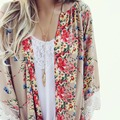 Mulheres Blusa Floral Impressão Chiffon Mulheres Quimono Cardigan Elegante Blusa de Renda Sexy Casual Praia Boho Encobrir Longo Blusas Tops