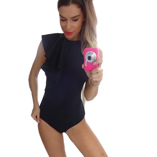 Mulheres Macacão Sem Mangas Sexy Mulheres Bodysuit Curto Elegante Jumpsuit Romper Zipper One Piece Bodysuit Top # LSIN