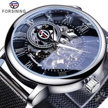 Forsining 新到着機械式時計メッシュバンドステンレス鋼超薄型ローマ腕時計ミニマリストビジネスメンズ腕時計