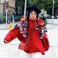 MX115 Nova Chegada do Outono 2016 do vintage solta manga longa de grandes dimensões com borla colorida mão de malha mulheres camisola mohair vermelho