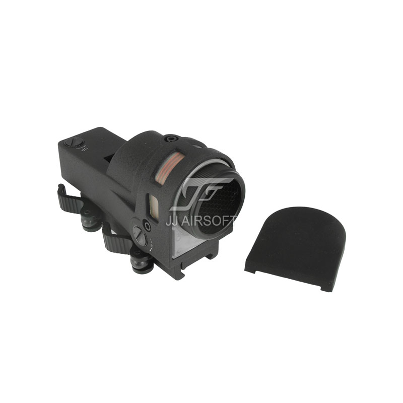 JJ Airsoft MEPRO M21 Red Dot Reflex Sight with killflash / Kill Flash (Black/Tan) Bull's Eye Reticle jj airsoft micro 1x24 red dot with killflash kill flash