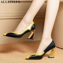 ALLBITEFO 天然本革の女性ハイヒール混合色のファッションセクシーなハイヒールパーティーの靴ヒール女性の靴