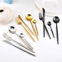 Stainless Steel Flatware Facas Black Gold Cutlery Set Table Knife Dinnerware Tableware Fork Knife Spoon Set