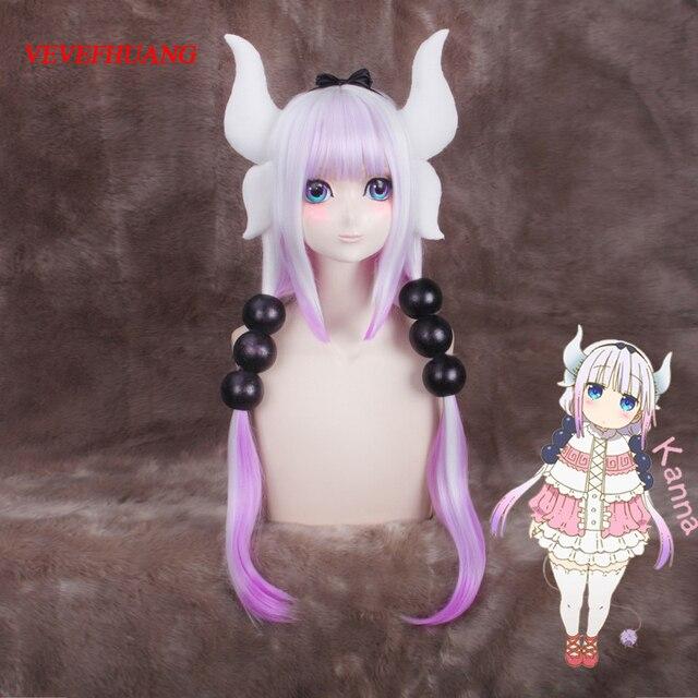 VEVEFHUANG Kосплей Kobayashi San Chi No Maid Dragon Kamui Kanna Wigs Gradient Cosplay Peluca Hair Ornaments Horns Headdress