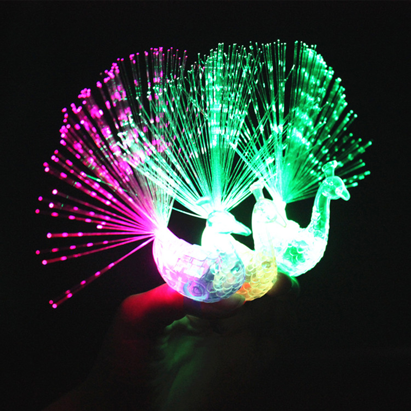 2 PCS Peacock Flash Finger Light Brazing Glowing Finger Lights Spread Children's Toys