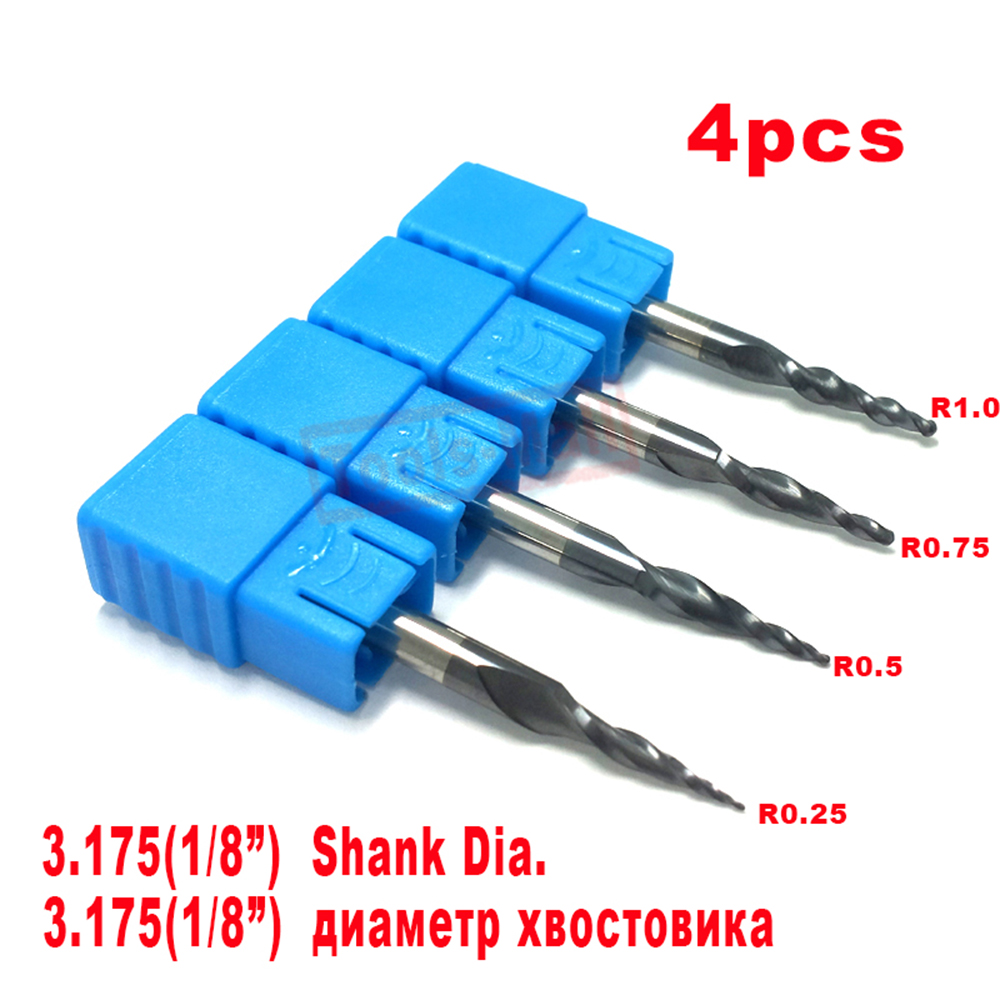 """R0.25/&0.5/&0.75/&1.0mm with 1//8/"""" shank Solid Carbide Tapered Ball Nose end mills"""