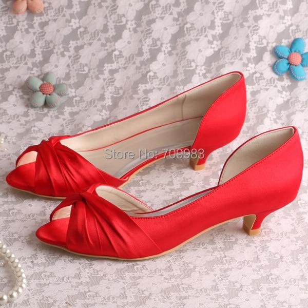 Pure White Satin Fabric Wedding Women Low Heel Dress Shoes 1 3/4 ...
