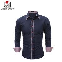 2017, Новая мода бренд Для мужчин рубашка Большой Размеры платье рубашка с длинным рукавом Slim Fit Camisa masculina Повседневное мужской Рубашки для мал...