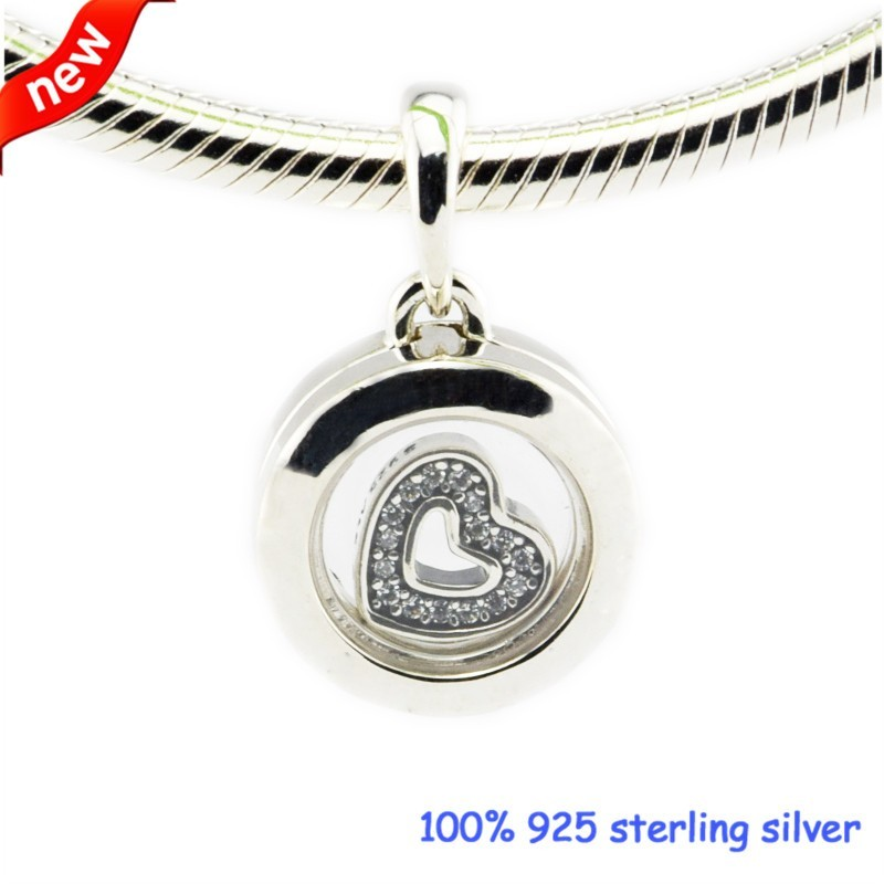 Floating Locket Beads Fits Pandora Bracelets Sapphire Crystal Glass Clear CZ Beads 2016 Autumn Jewelry 925 Sterling Silver Charm  (1)