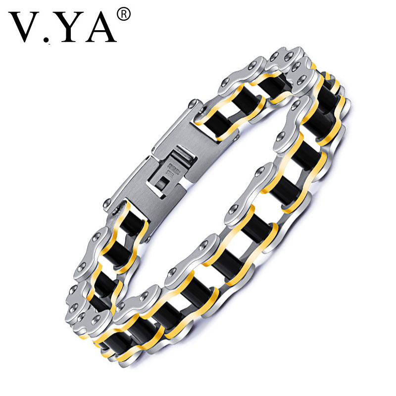 V.YA Stainless Steel Mens Bracelet Fashion Sports Jewelry Biker Bicycle Chain Link Brace ...