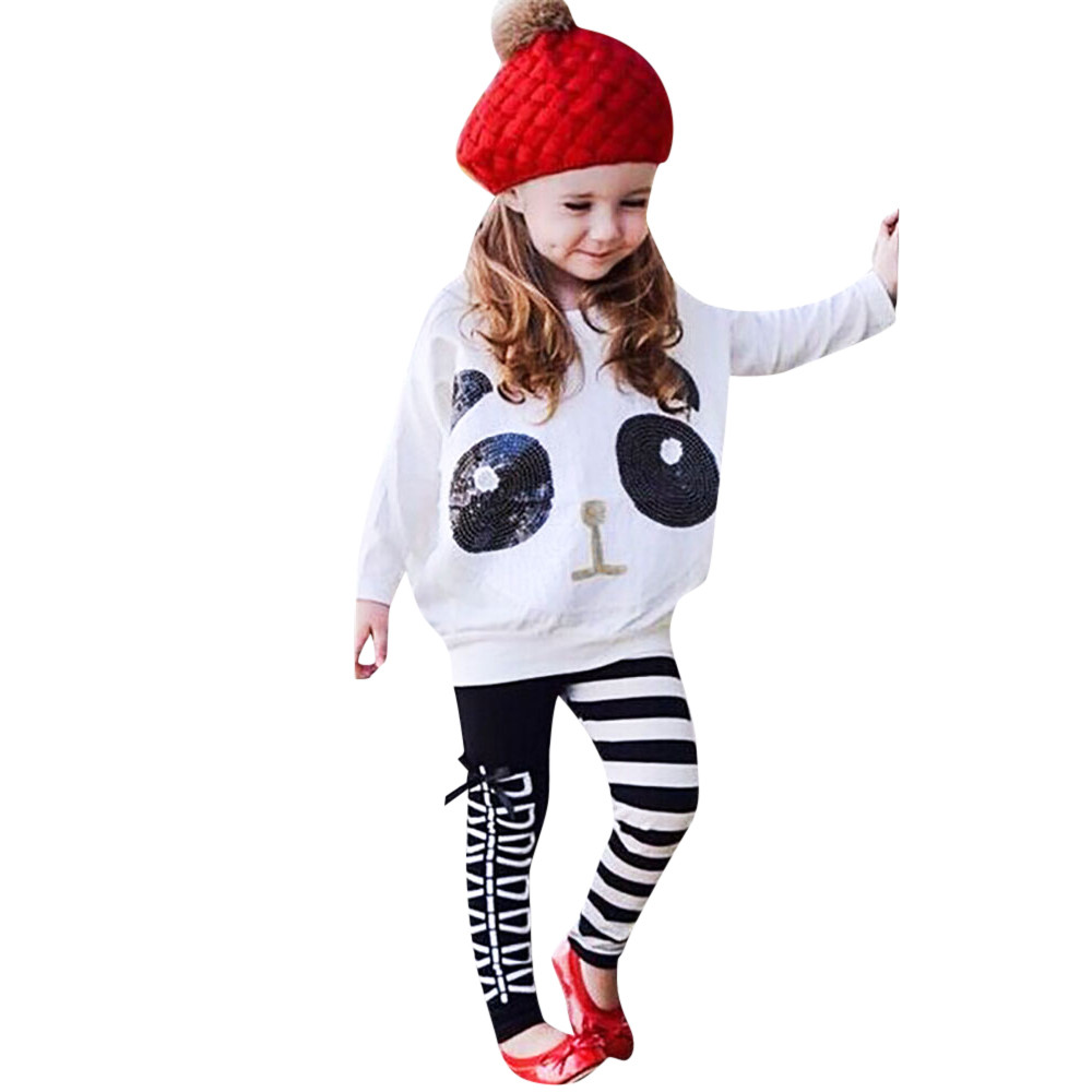 692a749b8f0a12 Bambino Delle Ragazze Dei Capretti Panda Paillettes Magliette e camicette  T-shirt A Righe + Pantaloni Arco Vestiti Set